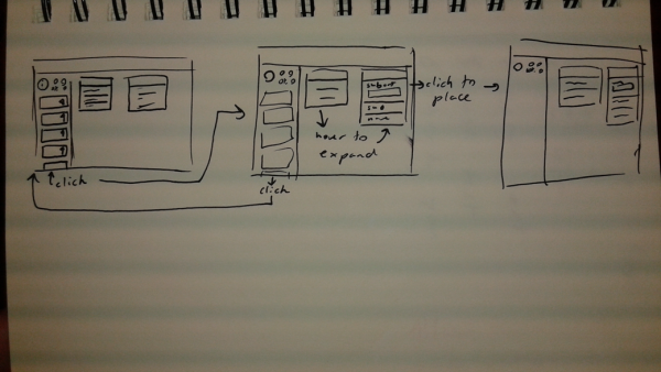 wireframe sketches in a sketchbook
