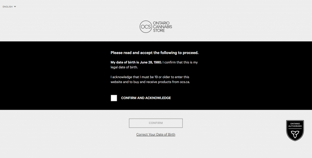 Ontario Cannabis Store's Website date of birth confirmation screen