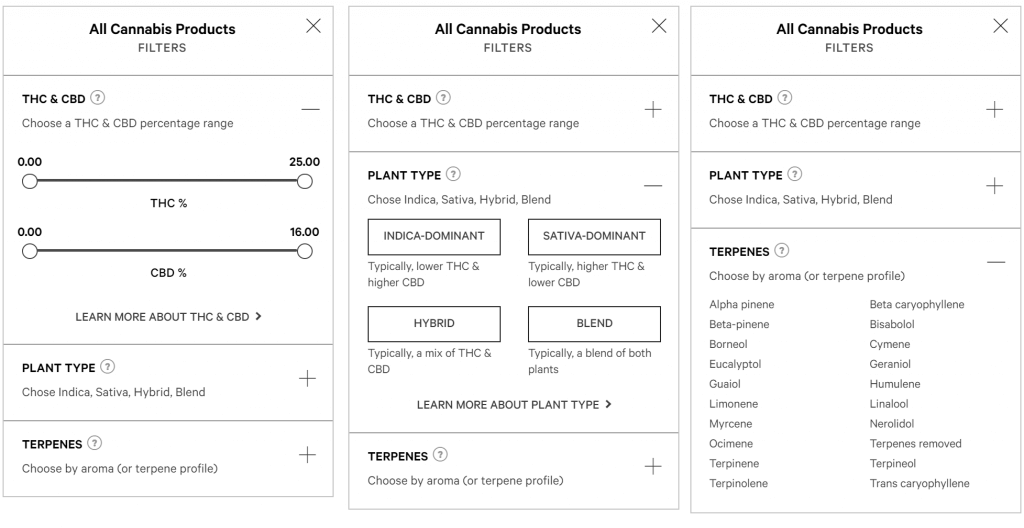 Ontario Cannabis Store's Website The three types of filters available