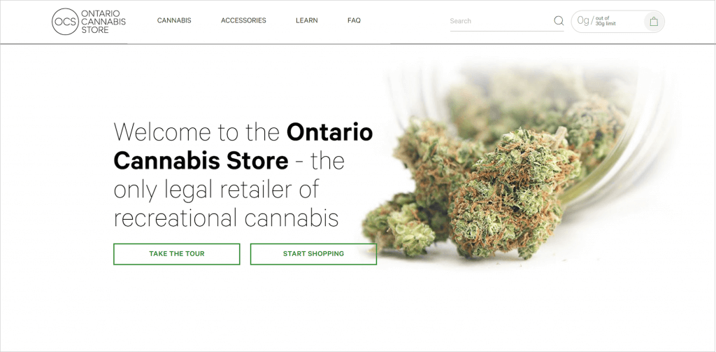 Ontario Cannabis Store's Website Homepage