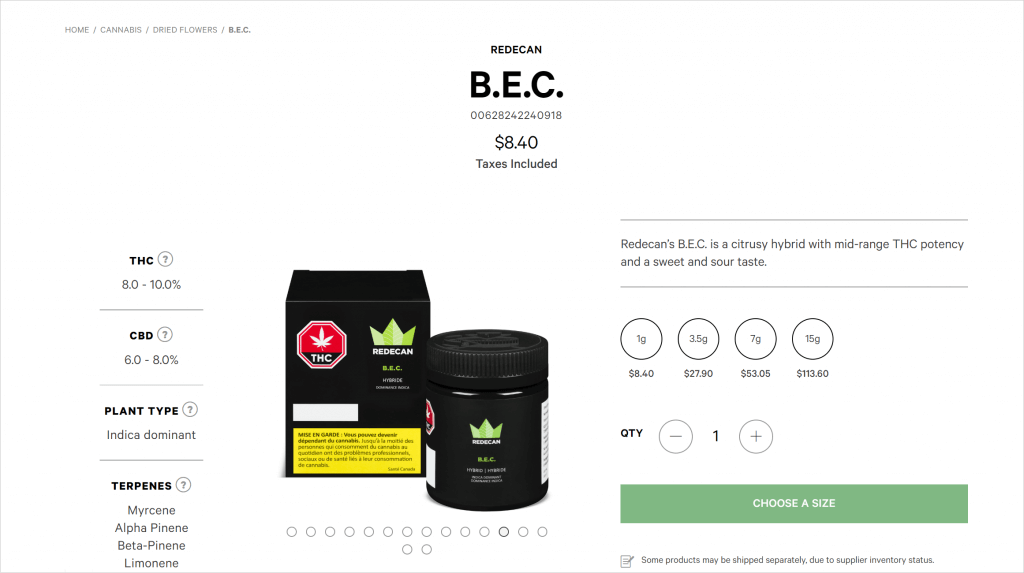 Ontario Cannabis Store's Website Product details screen