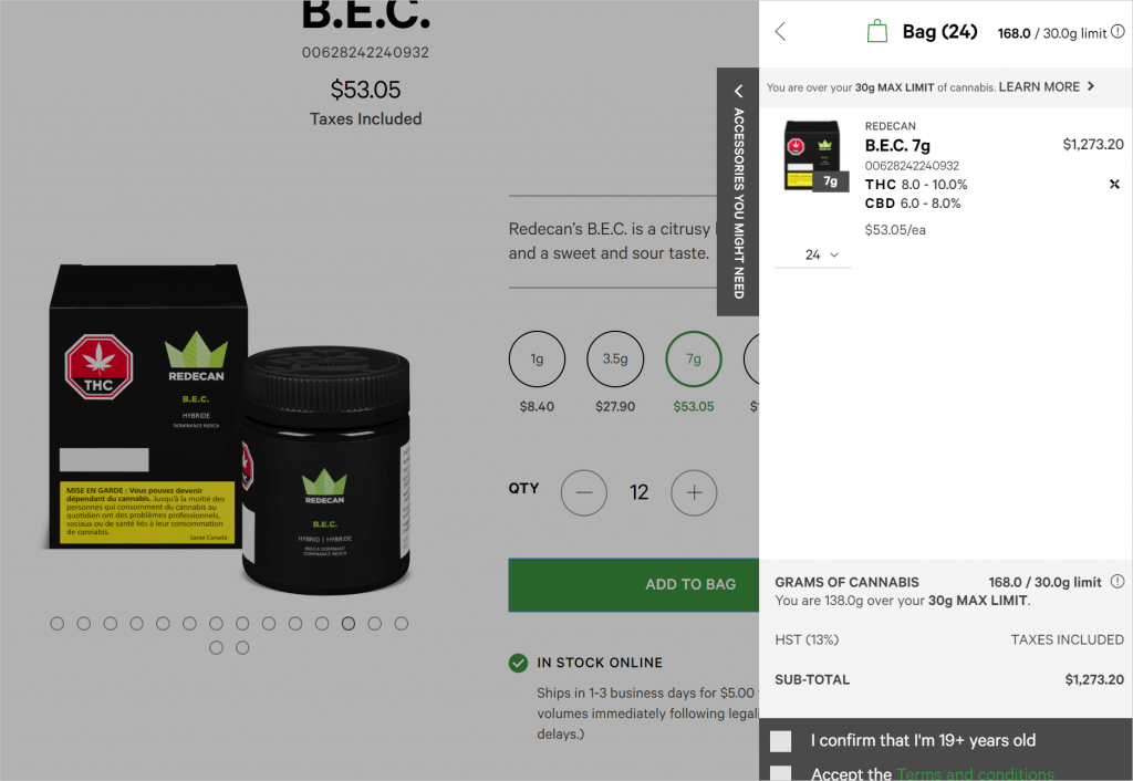 Ontario Cannabis Store's Website Shopping cart screen