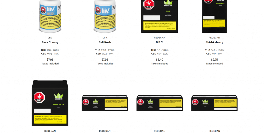 Ontario Cannabis Store's Website Product listing screen