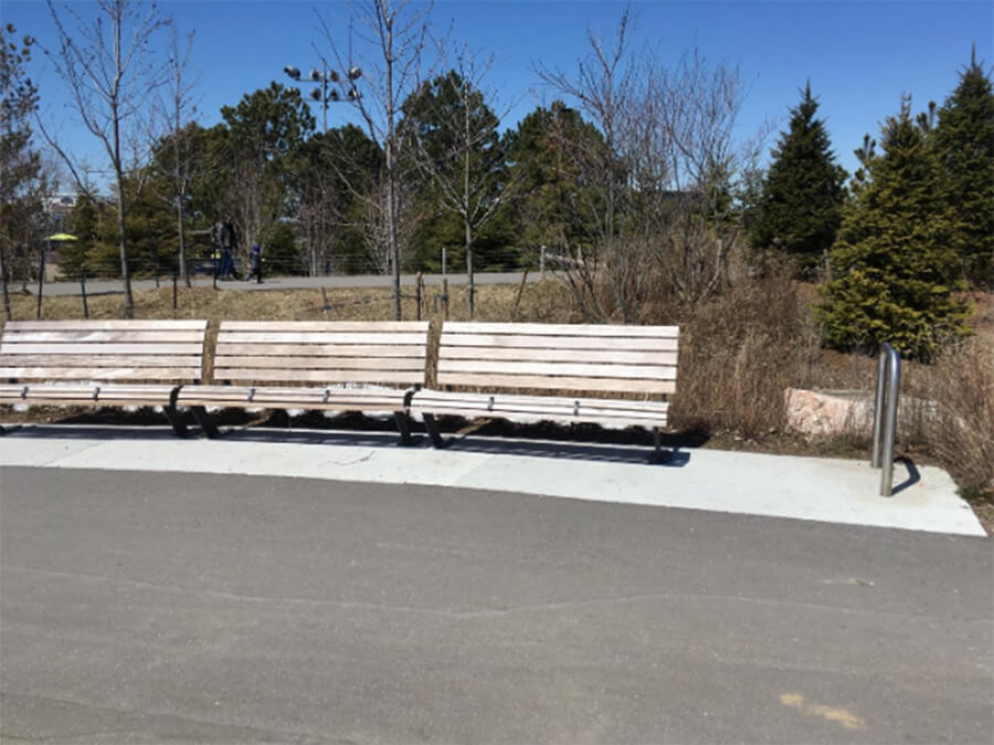 Benches and bike post in Trillium park