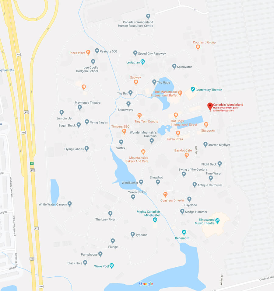 Google map of Canada's Wonderland