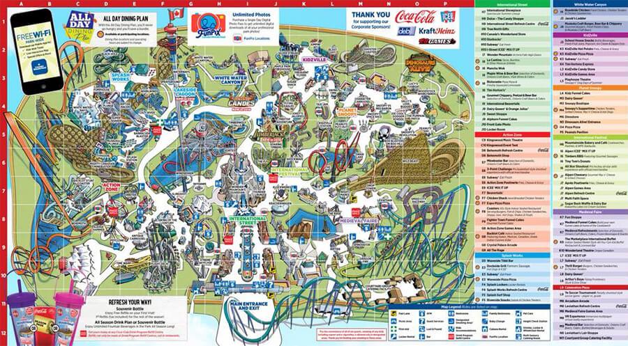 Canada's Wonderland 2018 park map