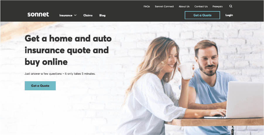 Sonnet's website homepage. Smiling man and woman on laptop with coffee mug in woman's hand.