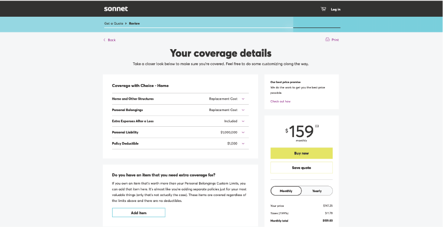 Page on Sonnet's website with insurance coverage details.