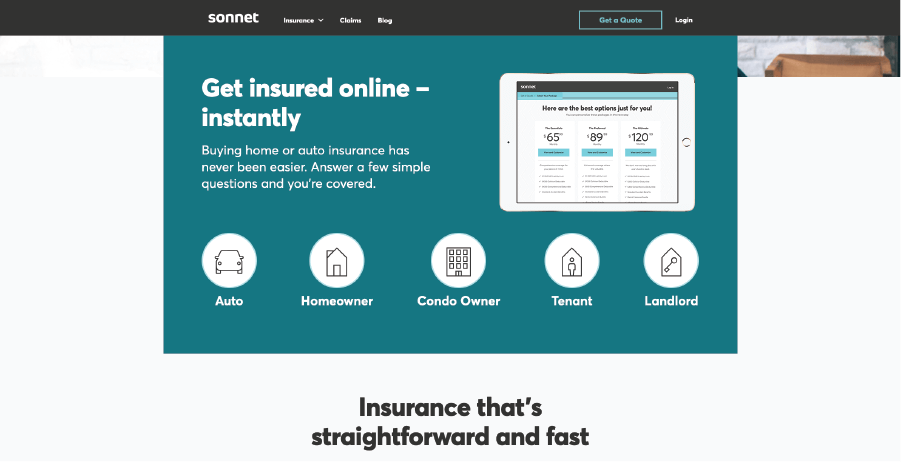 Page on Sonnet's website with insurance offerings.