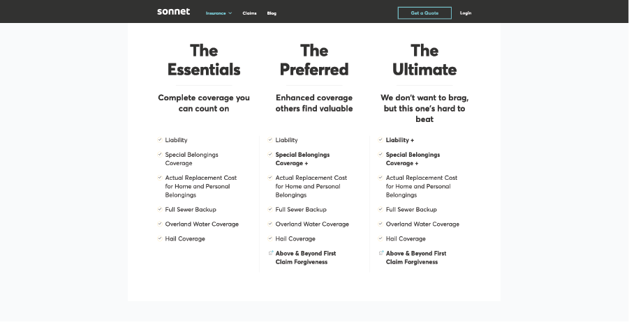 Page on Sonnet's website with detailed insurance offerings.