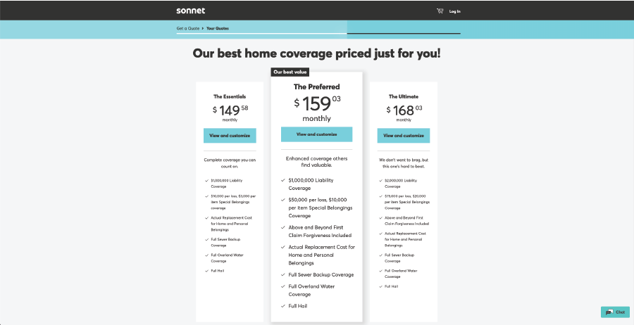 Page on Sonnet's website with three tiers of insurance quotes.